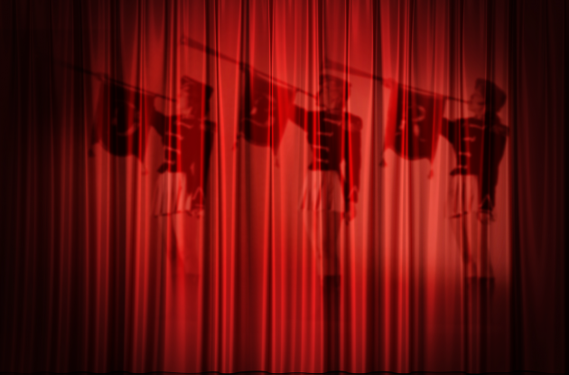 Cinema carpet with silhouette of trumpeters