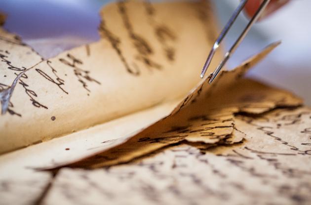 Close-up of book restoration
